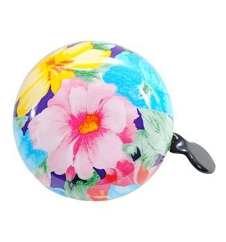 """Ding-Dong Fahrradklingel / Glocke """"Wild Rose"""", weiß mit Blumen"""