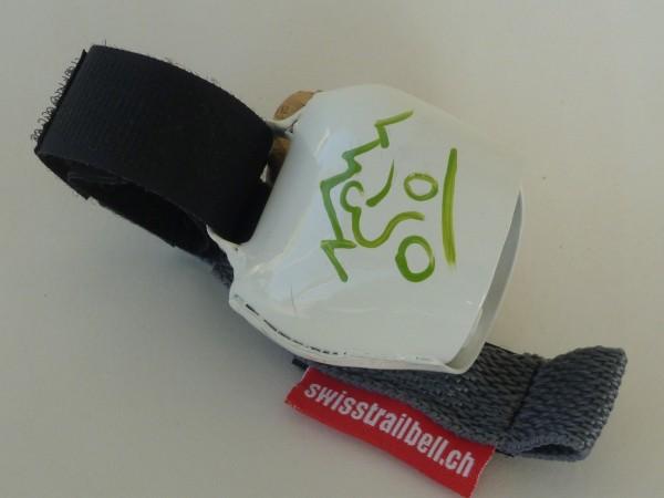 Swisstrailbell Collector Edition weiss mit grünem Mountainbiker