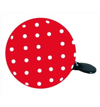 "Ding Dong Fahrradklingel / Glocke ""Dot"", rot mit weißen Punkten"