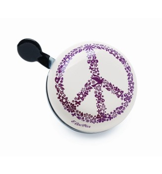 """Electra Fahrradklingel / Glocke Ding Dong """"Peace"""", weiß mit Peace-Zeichen"""