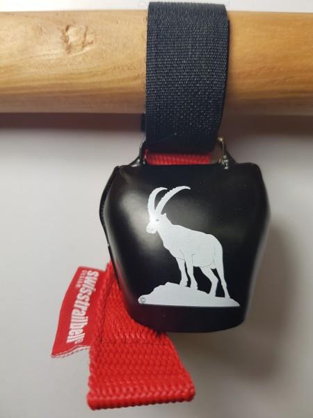 swisstrailbell® Deep Black Edition: König der Alpen, Steinbock, rotes Band