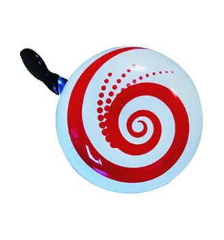 """Ding-Dong Fahrradklingel / Glocke """"Red Spiral"""", weiß mit roter Spirale"""