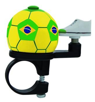 """Fußball- Fahrradklingel / Glocke """"Brasilien"""", gelb/grün"""