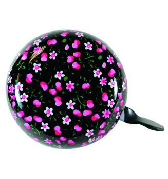"""Ding-Dong Fahrradklingel / Glocke """"Summer"""", schwarz mit pinken Blumen"""
