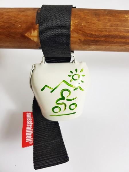 swisstrailbell® Edition weiß mit grünem Mountainbiker
