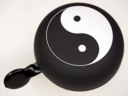 LTJ 2-Klang Glocke, matt schwarz mit Yin und Yang, 80mm