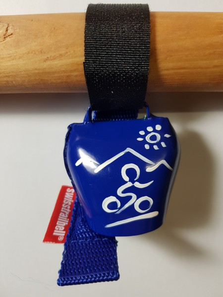 swisstrailbell® fresh Colour-Edition: Blau mit weißem Mountainbiker, blaues Band