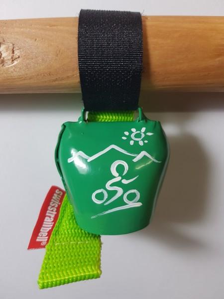 swisstrailbell® fresh Colour-Edition: Grün mit weißem Mountainbiker, grünes Band