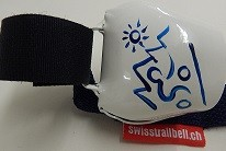 Swisstrailbell Collector Edition weiss mit blauem Mountainbiker