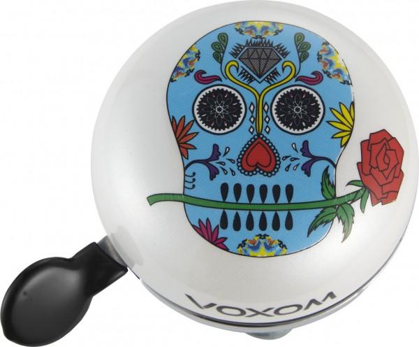 """Voxom Fahrradklingel / Glocke Skull white, Ø 60mm, """"Día de los Muertos"""""""