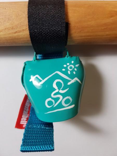 swisstrailbell® fresh Colour-Edition: Türkis mit weißem Mountainbiker, türkises Band