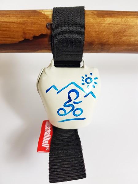 swisstrailbell® Edition weiß mit blauem Mountainbiker