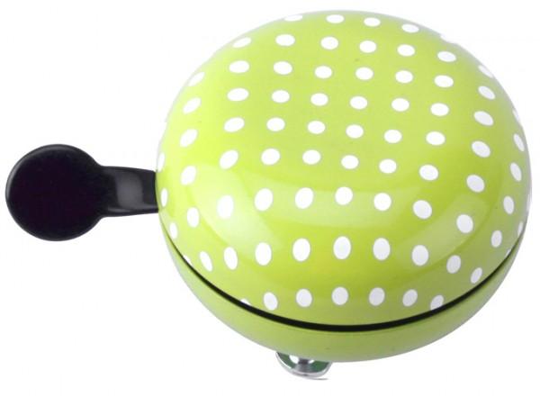 W+er Ding Dong Fahrradklingel, grün mit weißen Punkten, 60mm
