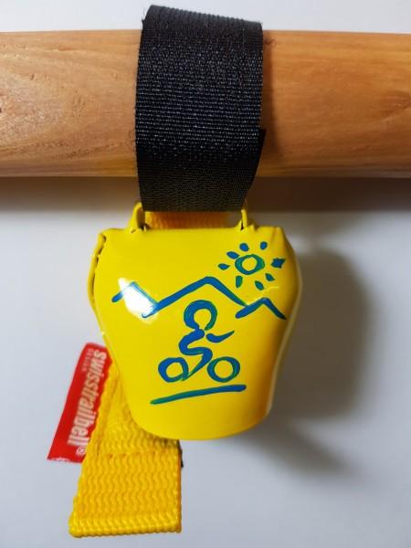 swisstrailbell® fresh Colour-Edition: Gelb mit blauem Mountainbiker, gelbes Band