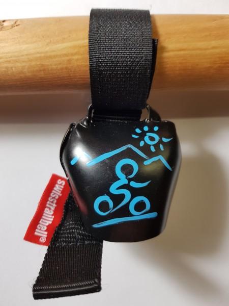 swisstrailbell® Black mit blauem Mountainbiker