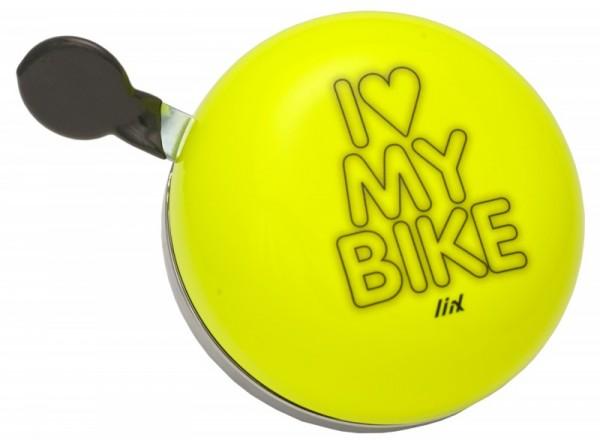 Liix Ding Dong Fahrradklingel I love My Bike Neon Yellow