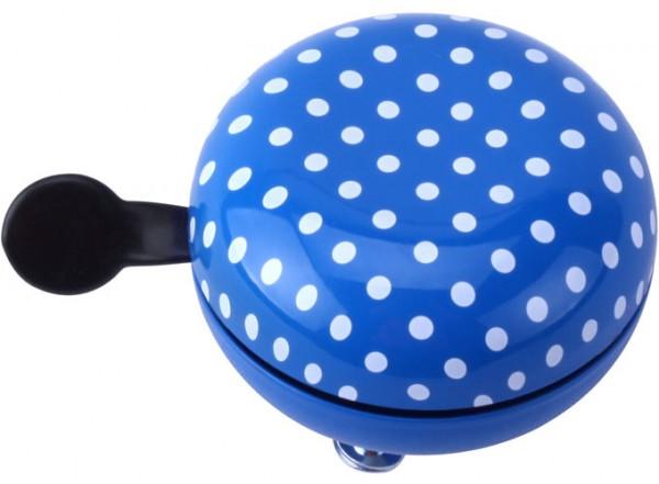 W+er Ding Dong Fahrradklingel, blau mit weißen Punkten, 60mm