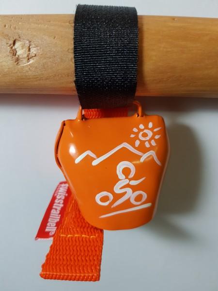 swisstrailbell® fresh Colour-Edition: Orange mit weißem Mountainbiker, orangenes Band