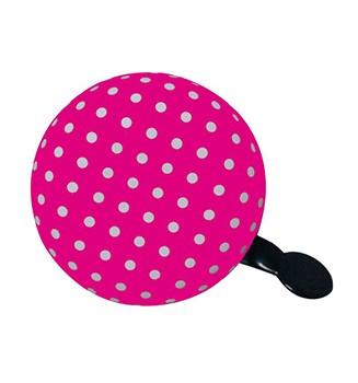 "Ding-Dong Fahrradklingel / Glocke ""DOT"", rosa mit weißen Punkten"