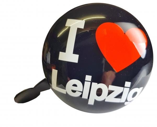 """LTJ 2-Klang Fahrradglocke """"I Love Leipzig"""", schwarz, Ø 80mm"""