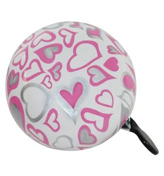 """Ding Dong Fahrradklingel / Glocke """"Love"""", weiß mit rosa Herzen"""