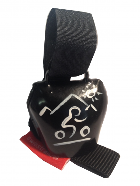 Swisstrailbell Collector Black mit weißem Mountainbiker